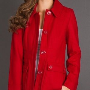 Tulle Red Wool Peacoat
